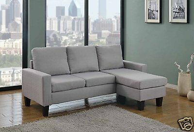 GREY Fabric Sectional Sofa w REVERSIBLE Chaise Lounge Living Room