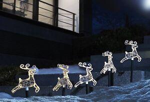 Set of 5 Outdoor Christmas LED Decoration Reindeer garden stick lights