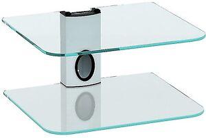 Floating Clear Glass Double Shelf DVD Mount*Wall Bracket*Sky Box*Xbox*Wii*White