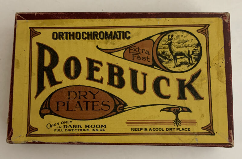 "Roebuck, Orthochromatic, Antique, Dry Plates, Box And Original Plates, 3.5""x5"""
