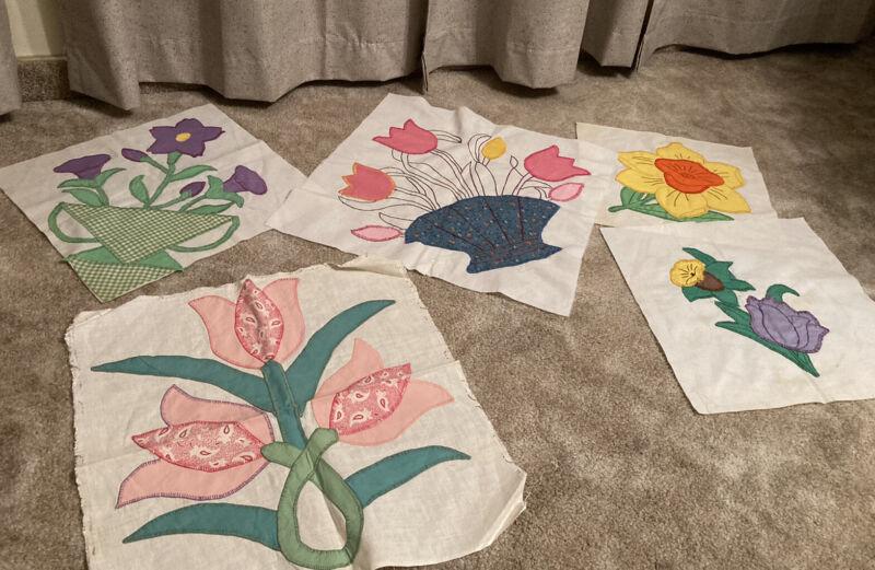 Lot of 5 Vintage Quilt Squares Floral Applique & Embroidery Gingham; Flowers FS