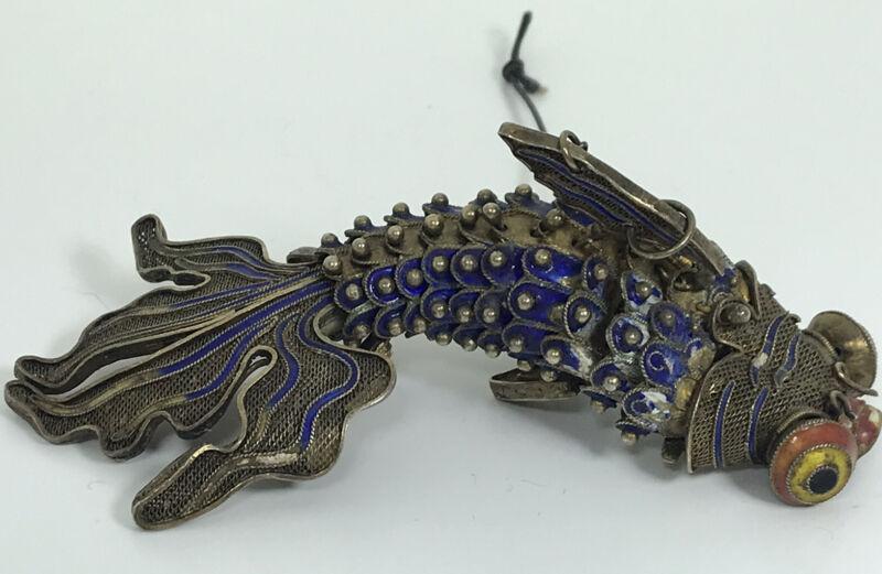 Antique Silver Filigree Enamel Koi Fish Pendant Hanging Articualted Blue