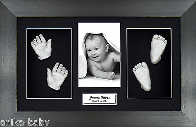 New Twins Unisex Large 3D Baby Casting Kit Silver Hand/Foot Brushed Pewter Frame