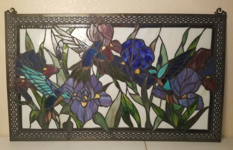 """28"""" x 17"""" Tiffany Style Hummingbirds & Orchids Stained glass Window Panel"""