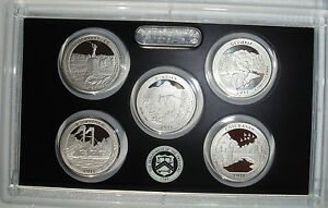 2011 S America the beautiful Silver Quarter Proof Set 5 coins