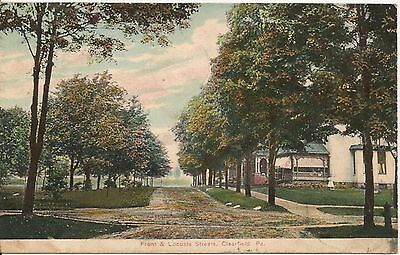 Front And Locust Streets Clearfield Pa Postcard 1908
