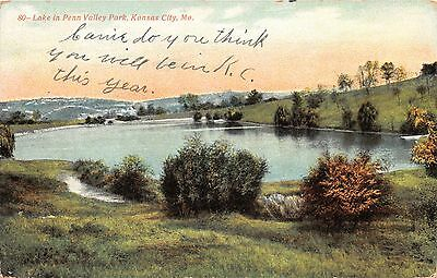 KANSAS CITY MO LAKE IN PENN VALLEY PARK~ELITE PCD COMPANY #716 POSTCARD 1909 - Party City Kansas City Missouri