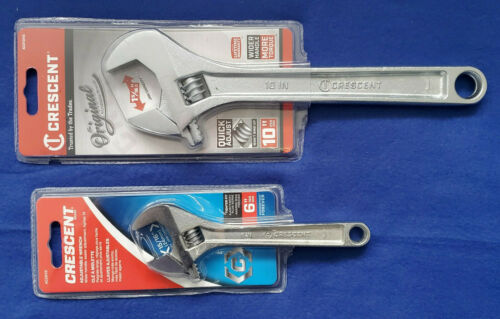 """Crescent Adjustable Wrenches (SET of 2) 10""""(AC210VS) And 6""""(AC26VS) Metric&SAE"""
