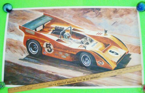 "rare 1971 DENNY HULME McLAREN CAN-AM RACE CAR POSTER Goodyear DON GETZ 38"" X 23"""