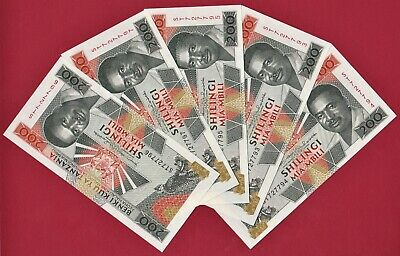 DEALER SET OF 5 X 200 Shilings 1993 Tanzania UNC Notes P-25 Leopards & Fishermen