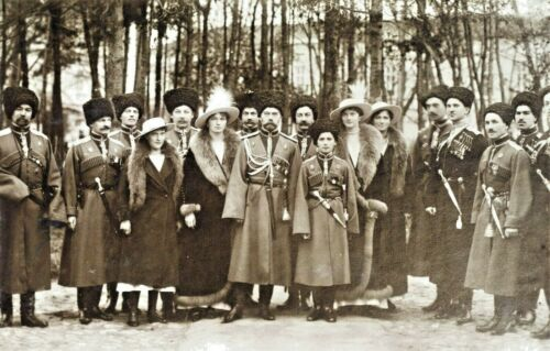 TSAR NICHOLAS II with Family-Cossack Officers Inspecting Troops in Russia-PHOTO