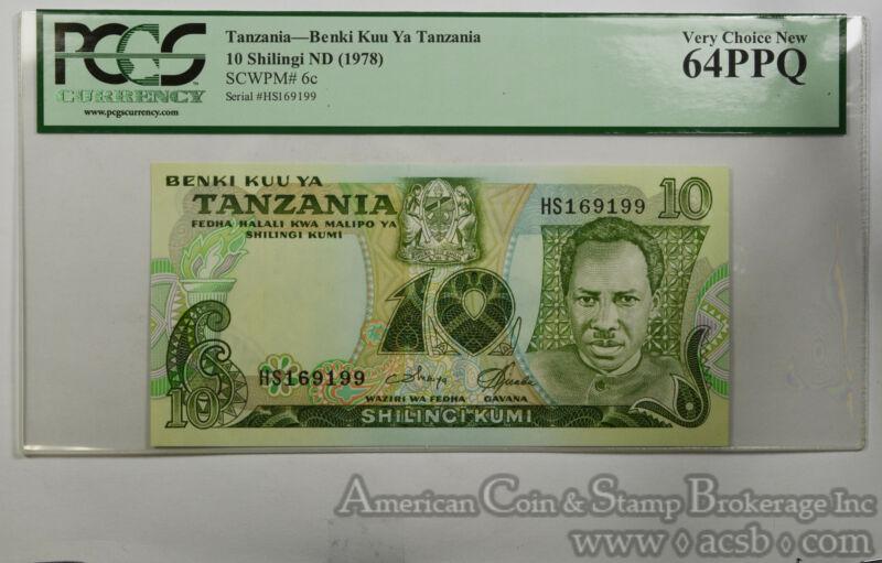 Tanzania 10 Shilingi MS64 PPQ PCGS 1978 SCWPM#6c Benki Kuu Ya UNC BU Gem