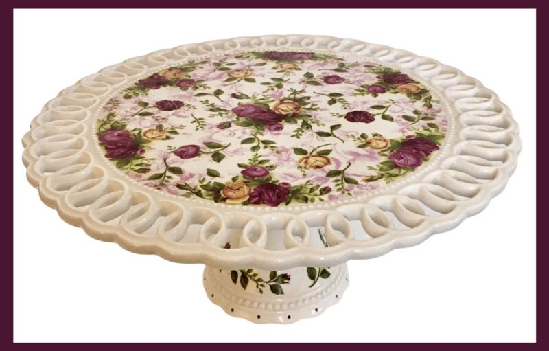 """Vintage  Royal Albert Old Country Roses - Reticulated Pedestal Cake Stand 12"""""""