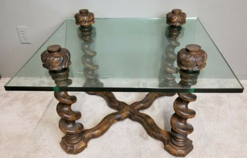 Vintage Spanish Style  Barley Twist Oak + Glass Top Cocktail Coffee Side Table