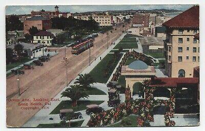 CA ~ Ocean Ave & Trolley LONG BEACH California 1919 Los Angeles County Postcard Los Angeles Trolley
