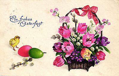 Ostern, Korb mit Blumen, Küken, Eier, 30er Jahre ()