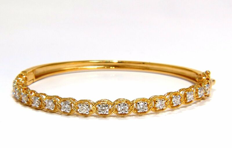1.37ct  Rope Twist Encased Natural Round Diamonds Bangle Bracelet 14 Karat