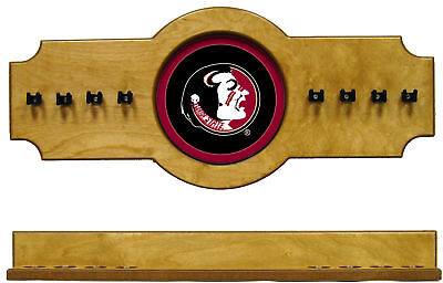 NCAA Florida State Seminoles 2 pc Hanging Wall Pool Cue Stick Holder Rack - Oak