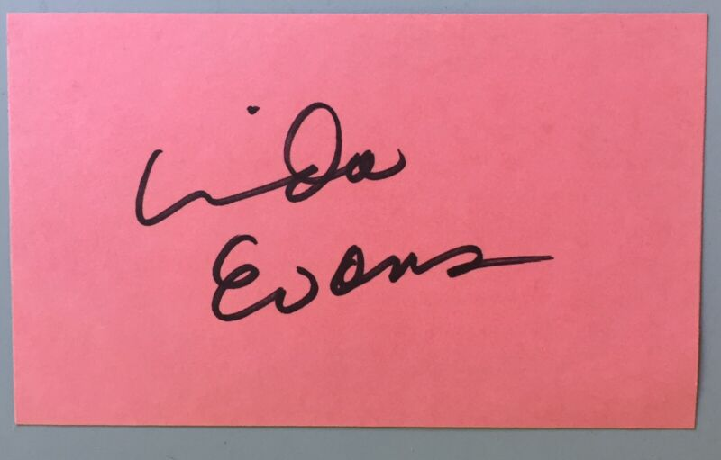 """Linda Evans Signed Index Card Colored 3""""X5"""" Television The Big Valley /  Dynasty"""