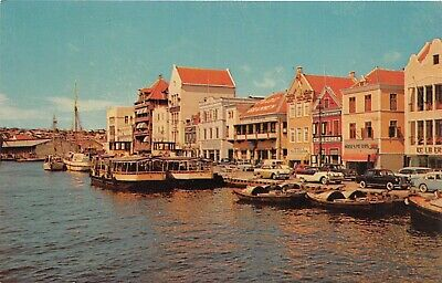 Willemstadt Curacao Netherland Antilles 1950s Postcard Waterfront (Waterfront Stores)