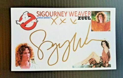 """GHOSTBUSTERS"" SIGOURNEY WEAVER ""ZUUL"" ""DANA BARRETT"" AUTOGRAPHED 3X5 INDEX CARD"