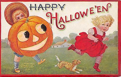 1908 sgd. Wall ? Boy with Jack O'Lantern Girl with Dog Happy Halloween post card](Happy Halloween Dog Cards)