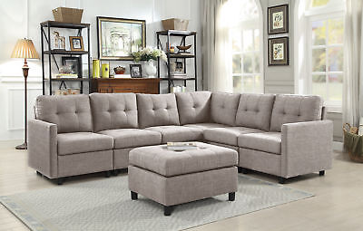 Contemporary 7Pcs Sectional Modern Sofa Microsuede Reversible Chaise W  Ottoman