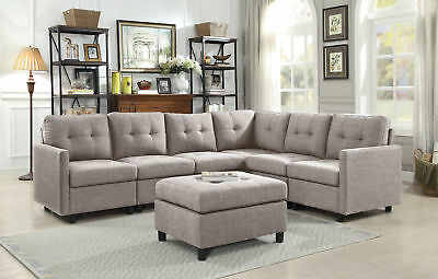 Contemporary 7pcs Sectional Modern Sofa Microsuede Reversible Chaise w/ Ottoman