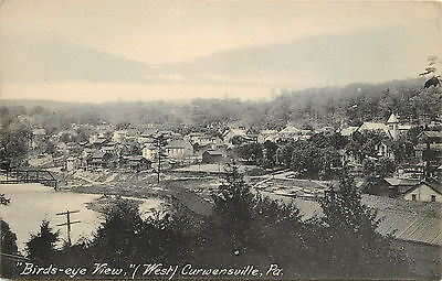 Vintage Postcard Birds Eye View Of West Curwensville Pa Clearfield County