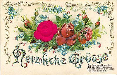 Blumen, Rosen, Rose aus Stoff, Prägekarte 1910