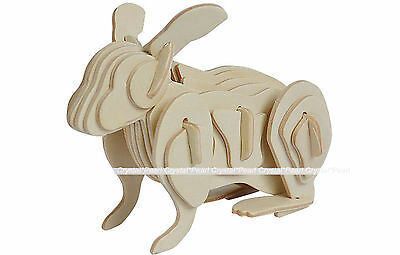 Rabbit Hare Bunny Jigsaw Swan DIY 3D Wooden Model Kit Toy Puzzle Christmas Gift