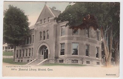 c1905 Vintage Handcolored Memorial Library Winsted CT UDB Postcard Rotograph Co for sale  New Windsor