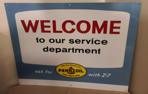 1971 Pennzoil Welcome To Our Service Department Metal Sign