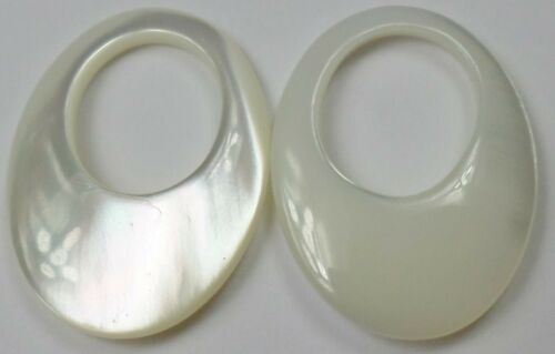 3 Sets (6) Gorgeous Iridescent Mother Of Pearl Gemstone HOOPS Pretty 20x15mm