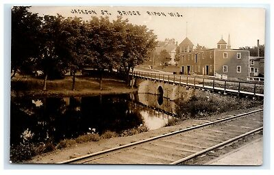 Postcard Jackson Street Bridge, Ripon Wisconsin WI train tracks RR 1908 RPPC H14 for sale  Biddeford