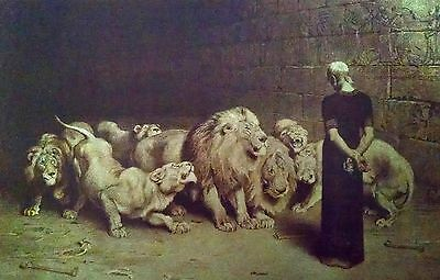 Daniel And Lion's Den (2 Christian Art Prints Daniel's Answer To The King and Daniel In The Lions Den)