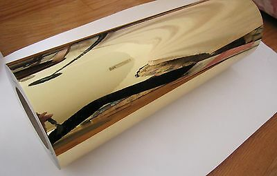 15 X 10ft Gold Chrome Mirror Adhesive Backed Die Cutting Sign Vinyl Film
