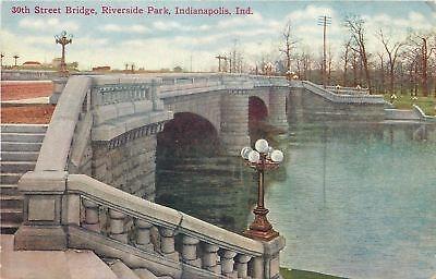 Globe Park Lamp - Indianapolis Indiana~Riverside Park~30th Street Bridge~5 Globe Lamp Post~1910 PC