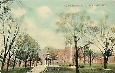 Janesville Wisconsin~Court House Park~Steps Up to Fountain~1908 Postcard ()