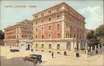 Italy Rome Hotel (Rome Roma Italy Hotel Ludovisi c1920 Cars Postcard )