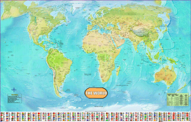 Laminated world map ebay large huge laminated world map poster wall chart flags educational a1 size gumiabroncs