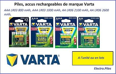 Accus Rechargeable Varta Brand Batteries, AAA LR03, AA LR06, at the best price