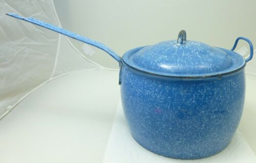 Antique Graniteware Blue & White Sauce Pan Pot Kettle Large 8 Quarts
