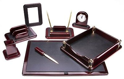 Majestic Goods Dark Mahogany Oak With Black Eco-friendly Leather Finish Desk Set