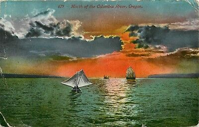 DB OR Postcard C888 659 Mouth of the Columbia River Sail Boats 1913 Cancel