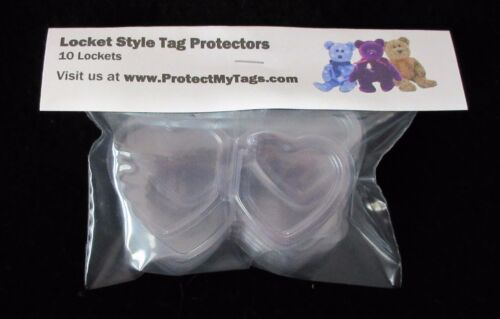 10 TY Beanie Babies Heart Shaped Swing Hang Tag Protectors locket Official NEW