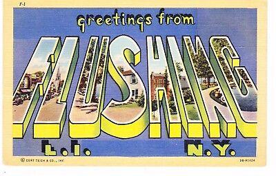 FLUSHING QUEENS BIG LETTER LINEN POSTCARD, LONG ISLAND, (Big Island Queens)