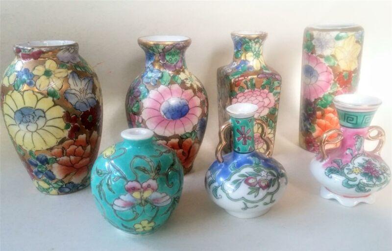 Rose Medallion Bud Vases Lot of 7 Vintage Minature Porcelain 2 to 4 Inches