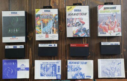 4 PAL Sega Master System Game Lot All Complete Hang On Alien 3 Arcade Smash Hits