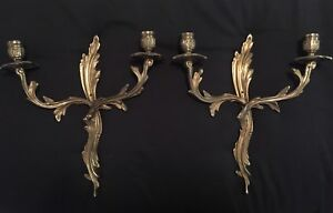 Vintage Pair Brass French Rococo 2 Candle Wall Sconces